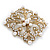Victorian Style Glass Pearl, Clear Crystal Filigree Square Brooch In Antique Gold Tone - 63mm L - view 2