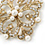 Victorian Style Glass Pearl, Clear Crystal Filigree Square Brooch In Antique Gold Tone - 63mm L - view 3
