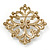 Victorian Style Glass Pearl, Clear Crystal Filigree Square Brooch In Antique Gold Tone - 63mm L - view 4