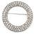 Clear Austrian Crystal Open Cut Circle Brooch In Rhodium Plating - 50mm