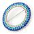 Blue/ Aqua/ Clear Austrian Crystal Open Cut Eternity Circle of Love Brooch In Rhodium Plating - 50mm - view 2