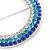 Blue/ Aqua/ Clear Austrian Crystal Open Cut Eternity Circle of Love Brooch In Rhodium Plating - 50mm - view 3