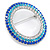 Blue/ Aqua/ Clear Austrian Crystal Open Cut Eternity Circle of Love Brooch In Rhodium Plating - 50mm - view 5