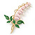 Baby Pink/ Green Bleeding Hearts Flower Enamel Brooch In Gold Plating - 80mm L