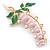 Baby Pink/ Green Bleeding Hearts Flower Enamel Brooch In Gold Plating - 80mm L - view 2
