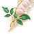 Baby Pink/ Green Bleeding Hearts Flower Enamel Brooch In Gold Plating - 80mm L - view 5