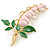 Baby Pink/ Green Bleeding Hearts Flower Enamel Brooch In Gold Plating - 80mm L - view 6