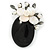 Handmade Black Oval Resin with Mother Of Pearl Floral Detailing Brooch/ Pendant In Pewter Tone - 60mm L - view 6