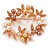 White/ Brown/ Light Orange Faux Pearl, Crystal Wreath Brooch In Rose Gold Tone Metal - 55mm W - view 1