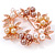 White/ Brown/ Light Orange Faux Pearl, Crystal Wreath Brooch In Rose Gold Tone Metal - 55mm W - view 3