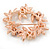 White/ Brown/ Light Orange Faux Pearl, Crystal Wreath Brooch In Rose Gold Tone Metal - 55mm W - view 4