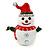 Christmas White/ Red/ Green Enamel, Crystal 'Snowman' Brooch In Silver Tone Metal - 43mm L