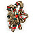 Vintage Inspired Green/ Red/ Clear Crystal Candy Cane Christmas Brooch In Antique Gold Tone Metal - 40mm L