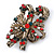 Vintage Inspired Green/ Red/ Clear Crystal Candy Cane Christmas Brooch In Antique Gold Tone Metal - 40mm L - view 2