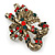 Vintage Inspired Green/ Red/ Clear Crystal Candy Cane Christmas Brooch In Antique Gold Tone Metal - 40mm L - view 3