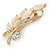 Neutral Cat Eye Stone, Crystal Floral Brooch In Gold Tone Metal - 55mm L - view 3