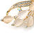 Neutral Cat Eye Stone, Crystal Floral Brooch In Gold Tone Metal - 55mm L - view 4