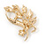 Neutral Cat Eye Stone, Crystal Floral Brooch In Gold Tone Metal - 55mm L - view 2