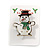 Flashing LED Lights Christmas Snowman with Magnetic Closure Brooch - 35mm - view 5