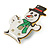 Flashing LED Lights Christmas Snowman with Magnetic Closure Brooch - 35mm - view 2