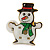 Flashing LED Lights Christmas Snowman with Magnetic Closure Brooch - 35mm