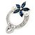 Rhodium Plated Montana Blue CZ Flower, Clear Crystal Fancy Brooch - 55mm Across - view 6