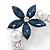 Rhodium Plated Montana Blue CZ Flower, Clear Crystal Fancy Brooch - 55mm Across - view 2