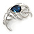 Rhodium Plated Montana Blue CZ, Clear Crystal Feather Brooch - 40mm Across - view 5