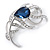 Rhodium Plated Montana Blue CZ, Clear Crystal Feather Brooch - 40mm Across
