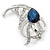 Rhodium Plated Montana Blue CZ, Clear Crystal Feather Brooch - 40mm Across - view 2