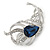 Rhodium Plated Montana Blue CZ, Clear Crystal Feather Brooch - 40mm Across - view 3