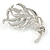 Rhodium Plated Montana Blue CZ, Clear Crystal Feather Brooch - 40mm Across - view 4