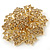 Victorian Style Corsage Flower Brooch In Gold Tone & Champagne Coloured Crystals - 55mm Across - view 3
