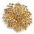 Victorian Style Corsage Flower Brooch In Gold Tone & Champagne Coloured Crystals - 55mm Across - view 5