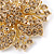 Victorian Style Corsage Flower Brooch In Gold Tone & Champagne Coloured Crystals - 55mm Across - view 2