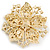 Victorian Style Corsage Flower Brooch In Gold Tone & Champagne Coloured Crystals - 55mm Across - view 4