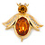 Funky Amber Coloured Glass Stone Bee Brooch In Gold Plating - 60mm Across