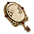 Vintage Inspired Amber/ Champagne Crystal Cameo with Charm Brooch In Antique Gold Tone - 63mm Across - view 5