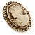 Vintage Inspired Champagne Crystal Cameo In Antique Gold Metal - 48mm L - view 2