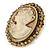 Vintage Inspired Champagne Crystal Cameo In Antique Gold Metal - 48mm L - view 3