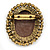 Vintage Inspired Champagne Crystal Cameo In Antique Gold Metal - 48mm L - view 4