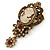 Vintage Inspired Amber/ Champagne Crystal Cameo with Charm Brooch In Bronze Tone - 65mm L - view 4