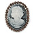 Vintage Inspired Grey Crystal Cameo In Antique Silver Metal - 48mm L