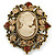 Vintage Inspired Amber/ Champagne Crystal Cameo with Charm Brooch In Bronze Tone - 65mm L - view 3