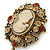Vintage Inspired Amber/ Champagne Crystal Cameo with Charm Brooch In Bronze Tone - 65mm L - view 5