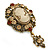Vintage Inspired Amber/ Champagne Crystal Cameo with Charm Brooch In Bronze Tone - 65mm L - view 6