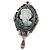Vintage Inspired Grey Crystal Cameo with Charm Brooch In Antique Silver Tone - 70mm L