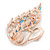 Gold Plated Multicoloured Cat Eye Stone, Clear Crystal Swan Brooch - 45mm L - view 2
