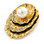 Vintage Inspired Textured, Crystal Shell with Pearl Brooch In Antique Gold Metal - 50mm L