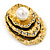 Vintage Inspired Textured, Crystal Shell with Pearl Brooch In Antique Gold Metal - 50mm L - view 2